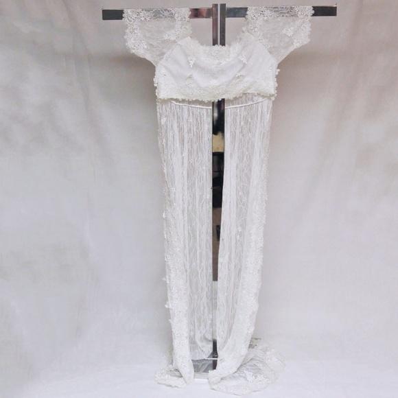 80ca6c61fabdc Dresses | Wedding Gown Cape Long Train Lace Soft White | Poshmark